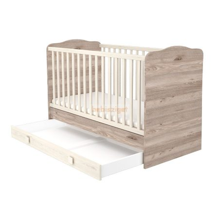 Timba Viki Átalakítható 70x140-as Zárt végű baba- és gyermekágy ágyneműtartóval Krém-Fűz