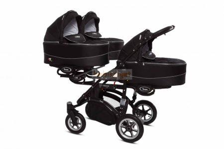 Baby Active Trippy Hármasiker babakocsi Premium Black Tömör gondozásmentes kerekekkel