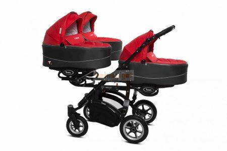 Baby Active Trippy Hármasiker babakocsi Premium Rosso Tömör gondozásmentes kerekekkel