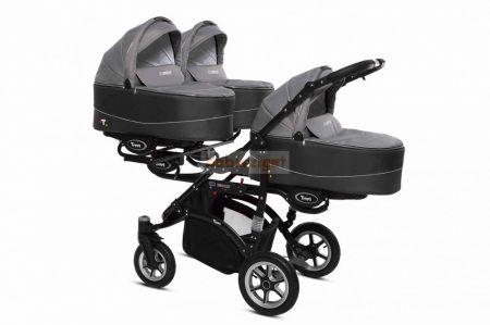 Baby Active Trippy Hármasiker babakocsi Premium Silver Tömör gondozásmentes kerekekkel