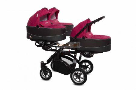 Baby Active Trippy Hármasiker babakocsi Premium Amarant Tömör gondozásmentes kerekekkel