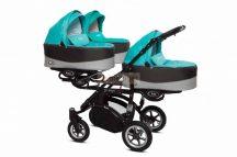 Baby Active Trippy Hármasiker babakocsi Premium Tropic Green Tömör gondozásmentes kerekekkel