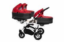 Baby Active Trippy Hármasiker babakocsi Premium Rosso  White Tömör gondozásmentes kerekekkel