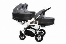 Baby Active Trippy Hármasiker babakocsi Premium Silver White Tömör gondozásmentes kerekekkel