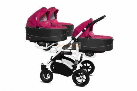 Baby Active Trippy Hármasiker babakocsi Premium Amarant White Tömör gondozásmentes kerekekkel