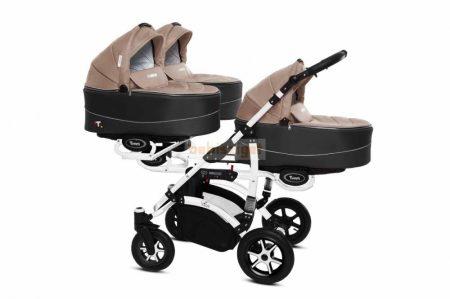 Baby Active Trippy Hármasiker babakocsi Premium Beige White Tömör gondozásmentes kerekekkel