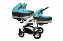 Baby Active Trippy Hármasiker babakocsi Premium Tropic Green  White Tömör gondozásmentes kerekekkel