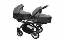 Baby Active Twinni Ikerbabakocsi Premium Silver Tömör gondozásmentes kerékkel