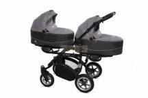 Baby Active Twinni Ikerbabakocsi Premium Silver Tömör gondozásmentes kerekekkel