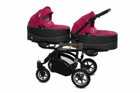 Baby Active Twinni Ikerbabakocsi Premium Amarant Tömör gondozásmentes kerekekkel