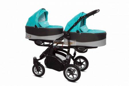 Baby Active Twinni Ikerbabakocsi Premium Tropic Green Tömör gondozásmentes kerékkel