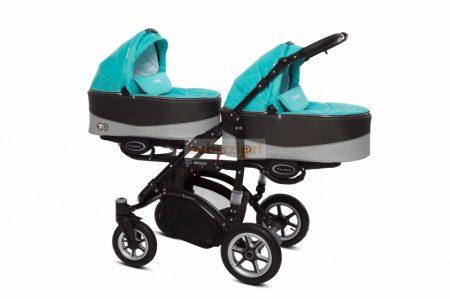 Baby Active Twinni Ikerbabakocsi Premium Tropical Green Tömör gondozásmentes kerekekkel