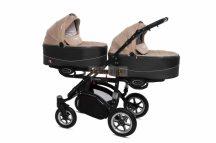 Baby Active Twinni Ikerbabakocsi Premium Beige Tömör gondozásmentes kerekekkel