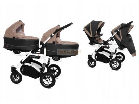 Baby Active Twinni Ikerbabakocsi Premium Beige White Tömör gondozásmentes kerekekkel