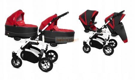 Baby Active Twinni Ikerbabakocsi Premium Rosso White Tömör gondozásmentes kerekekkel