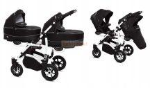 Baby Active Twinni Ikerbabakocsi Premium Black White Tömör gondozásmentes kerekekkel