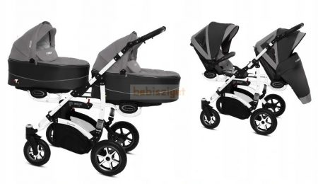 Baby Active Twinni Ikerbabakocsi Premium Silver White Tömör gondozásmentes kerekekkel