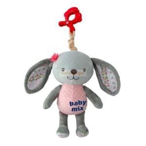 BabyMix Csiptethető Felhúzható-Zenélő Plüss Nyuszika