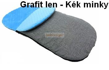 Bundazsák Minky Minden Babakocsi típushoz, Babahordozóhoz, Szánkóhoz  Grafitszürke len-kék minky