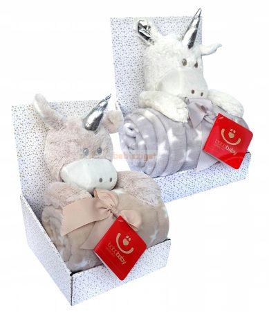 Bobobaby Ajándékszett Plüss Figura és Babysoft Babatakaró Unikornis Barna