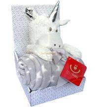 Bobobaby Ajándékszett Plüss Figura és Babysoft Babatakaró Unikornis Fehér