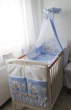 Szeko Stúdió - Holdas maci kék 3 részes gyermekágynemű garnitúra