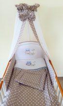 Szeko Stúdio - Provance pöttyös kék Lulu Bagoly hímzéssel 4 részes gyermekágynemű szett