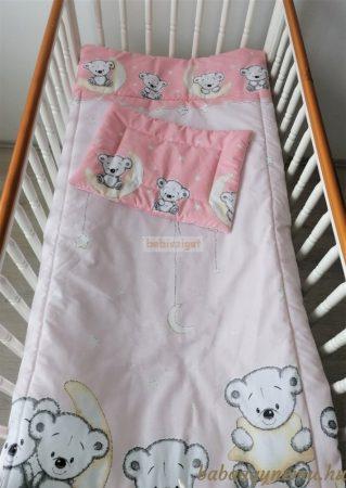Szeko Stúdió - Holdas maci rózsaszín 2 részes gyermekágynemű garnitúra