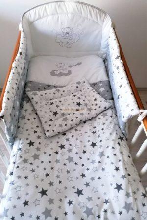 Szeko Stúdió - Grey Star Csillagfüzéres maci hímzéssel - 3 részes gyermekágynemű garnitúra