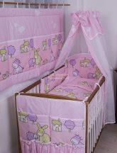 Szeko Stúdio - Farmos rózsaszín hímzéssel 4 részes gyermekágynemű szett